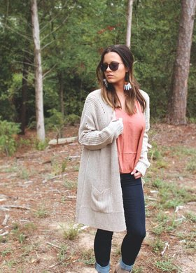 Diamond T Outfitters Oatmeal Thick Knit Cardigan