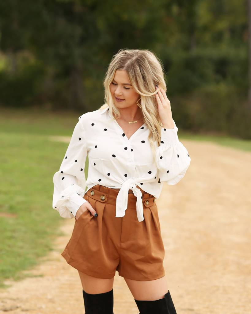 Diamond T Outfitters Spaced Polka Dot Knot Front Top