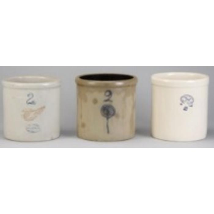 Grouping of three American glazed earthenware crocks