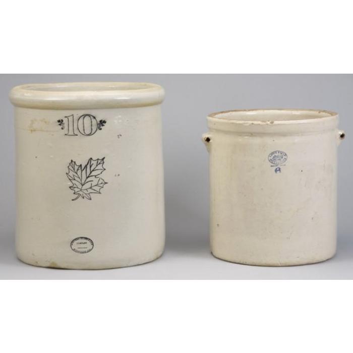 Pair of oversized American glazed earthenware crocks