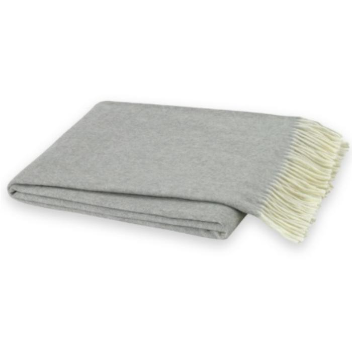 ITALIAN HERRINGBONE THROW, LIGHT GRAY