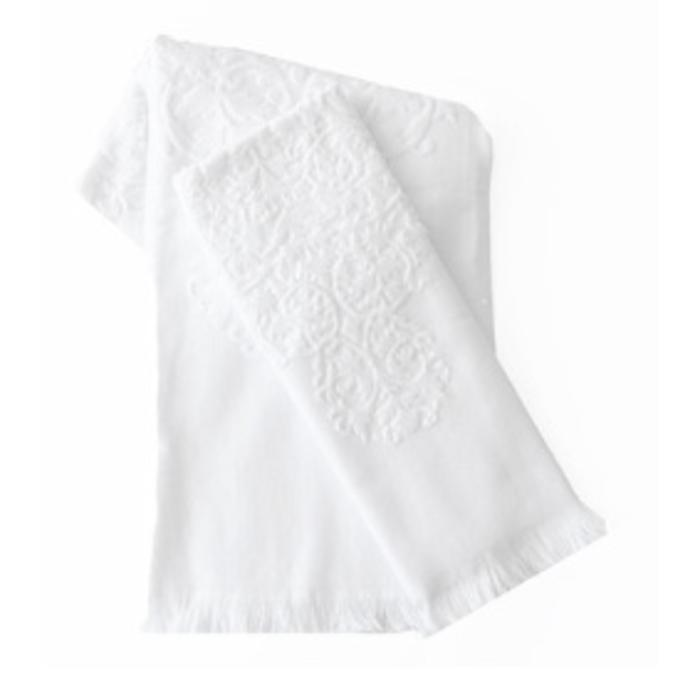 Moroccan Bath Towel with Fringe, white