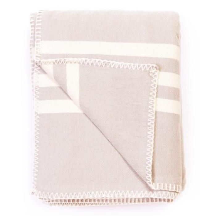 SUPER SOFT HEMSTITCHED THROW, BEIGE WITH ECRU STRIPES