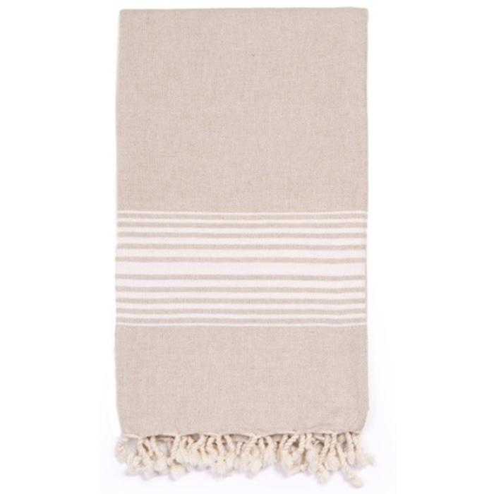 LINEN BATH TOWEL WITH TASSELS, white stripes
