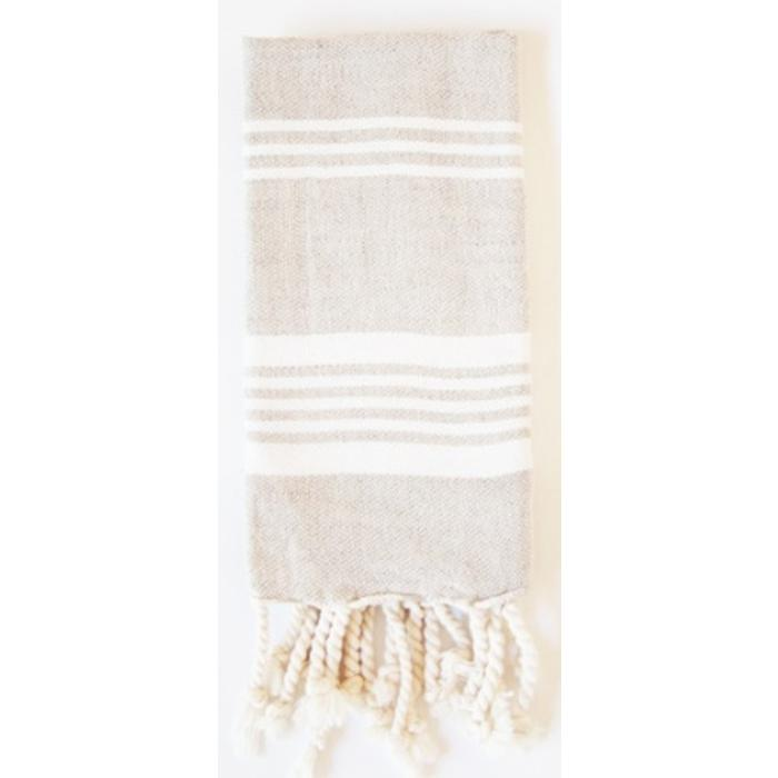 LINEN HAND TOWEL WITH TASSELS, white stripes