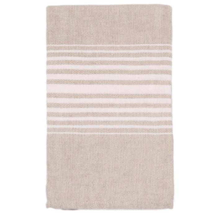 LINEN HAND TOWEL WITH SEWN HEM, WHITE STRIPES