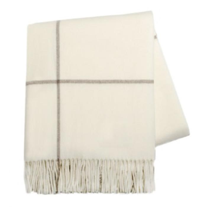 Lambswool and Cashmere Throw, Ivory and Ecru Windowpane
