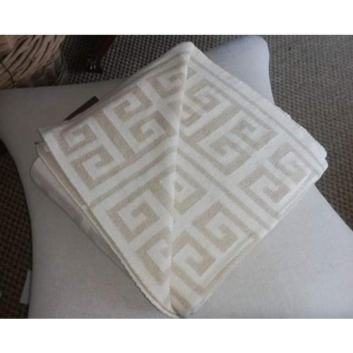Eco Greek Key Reversible Throw, milk/flax color