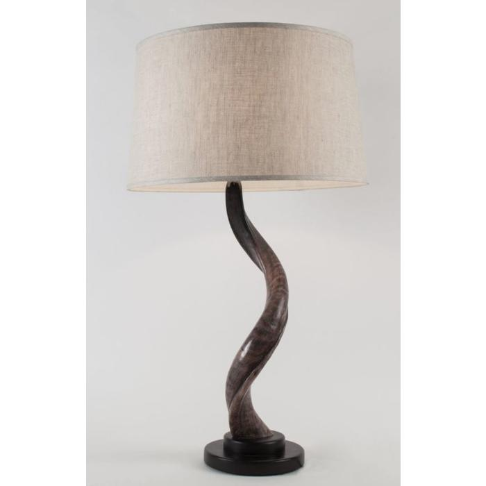 Kudu Horn Table Lamp With Wooden Round Base