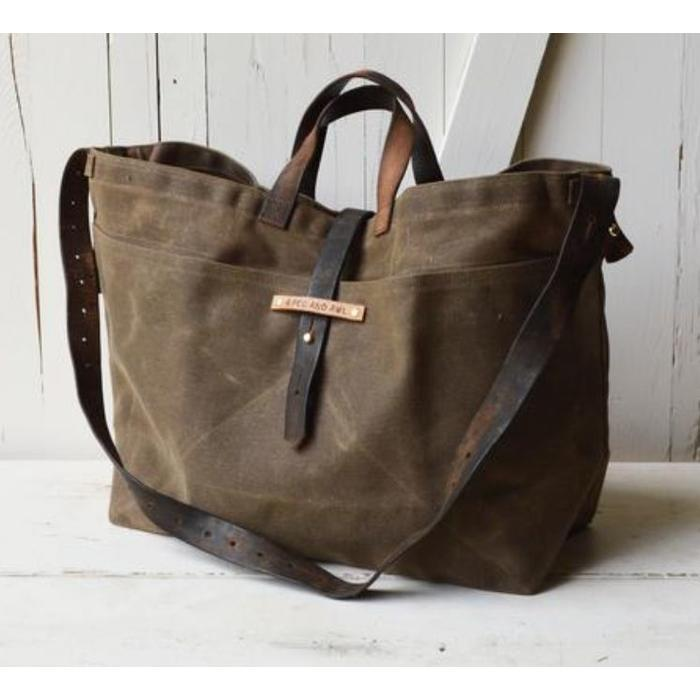 Large Waxed Canvas Tote, truffle color