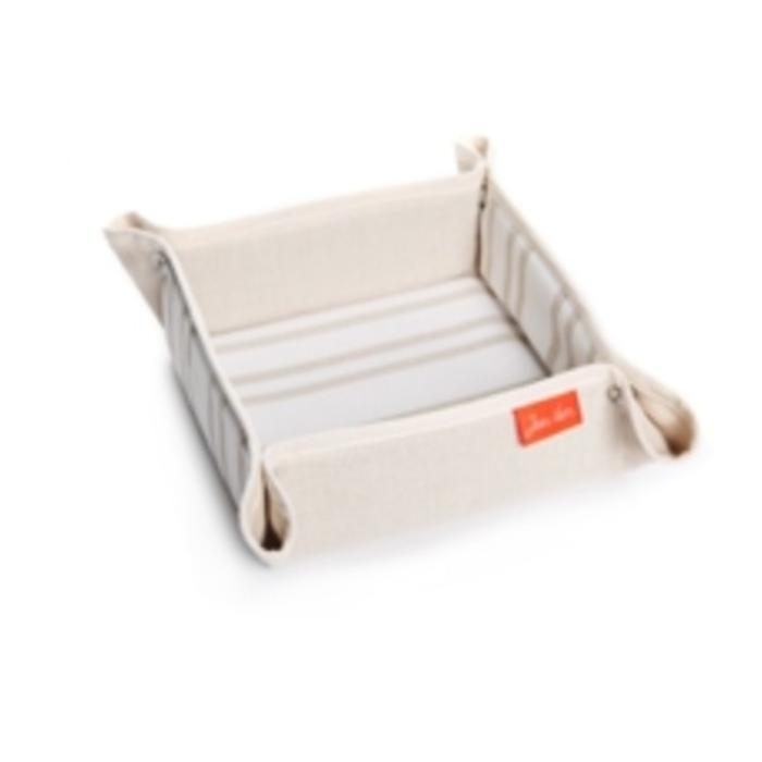 Jean Vier St. Jean Sq. Bread Basket beige & white