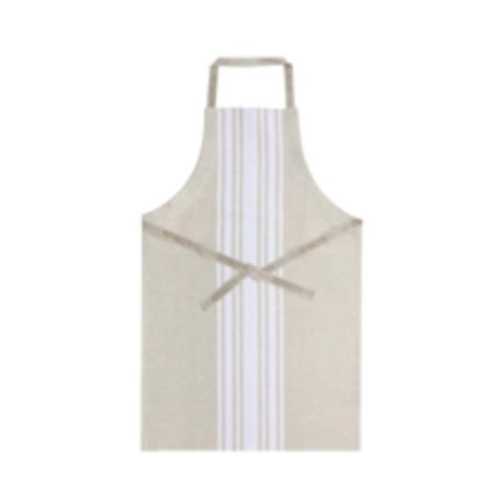 St Jean Apron - beige/white - cotton/linen