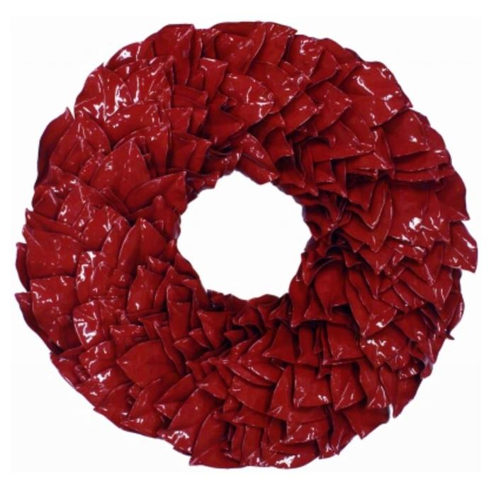 Lacquered Magnolia Wreath - Holiday Red 34""