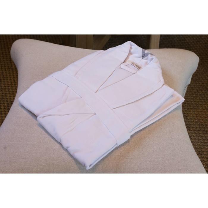 Cotton bath robe, white/gray