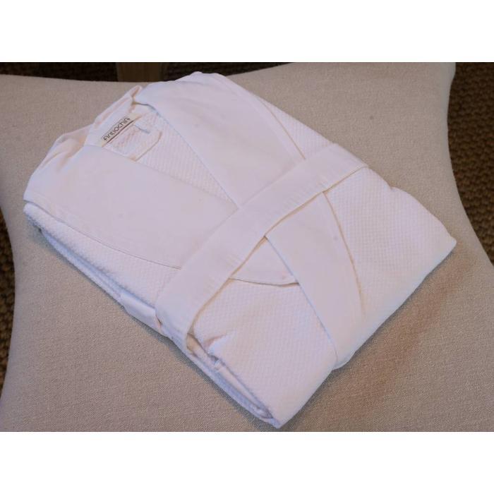 Cotton Honey Comb Bath Robe, White