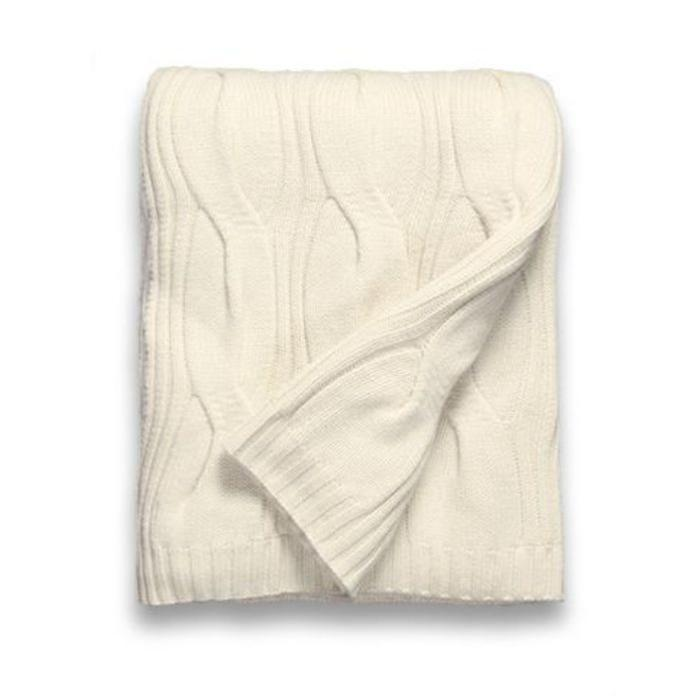 Cashmere Throw, 12 ply Oversized Cable Pattern, Ivory