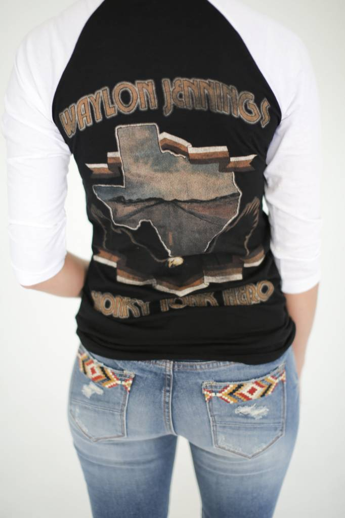 Midnight Rider Waylon Hero Baseball Tee