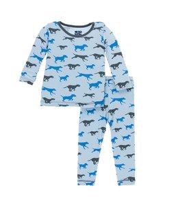 Kickee Pants Print Long Sleeve Pajama Set, Pond Running Labs