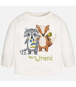 Mayoral Print Long Sleeve T Shirt, Fox And Raccoon