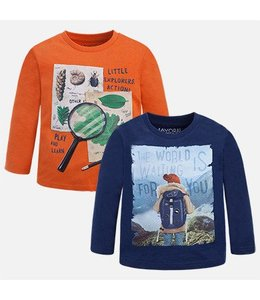 Mayoral Long Sleeve T-Shirt Set, Prusia