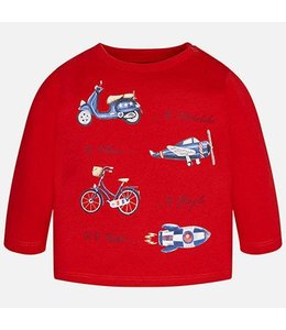 Mayoral Printed Red Long Sleeve  T Shirt, Modes Of Travel
