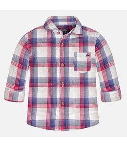 Mayoral Plaid Long Sleeven Dress Shirt, Berry