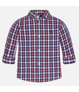 Mayoral Plaid Long Sleeve Shirt, Blackberry