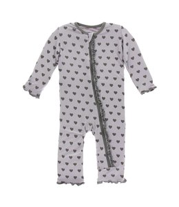 Kickee Pants Print Muffin Ruffle Coverall with Zipper, Feather Hearts