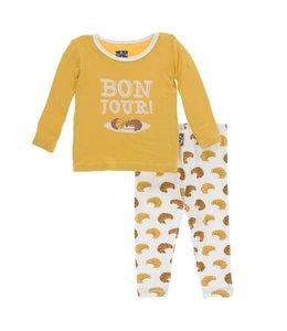 Kickee Pants Print Long Sleeve Pajama Set, Natural Croissants
