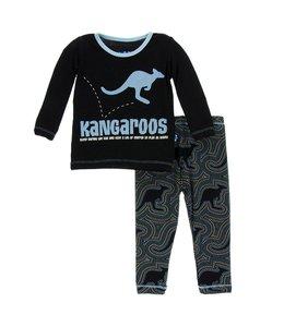 Kickee Pants Print Long Sleeve Pajama Set, Midnight Kangaroo