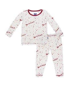 Kickee Pants Print Long Sleeve Pajama Set, Natural Flying Santa