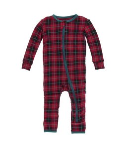 Kickee Pants Print Coverall with Zipper, Plaid