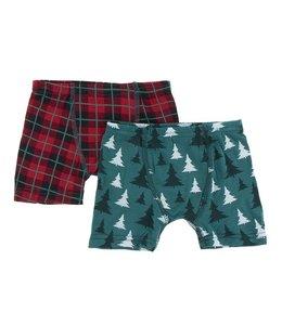 Kickee Pants Boys Print Boxer Brief Set, Cedar Christmas Trees / Plaid