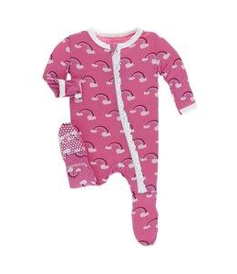 Kickee Pants Print Muffin Ruffle Footie w. Zipper, Flamingo Rainbow