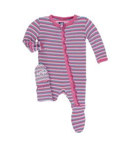 Kickee Pants Print Muffin Ruffle Footie w. Zipper, Flamingo Anniversary Stripe