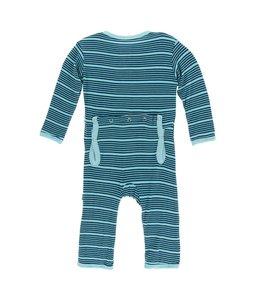Kickee Pants Print Coverall with Zipper, Shining Sea Stripe
