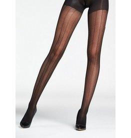 Mondor Textured Vertical Stripe Tights - Black
