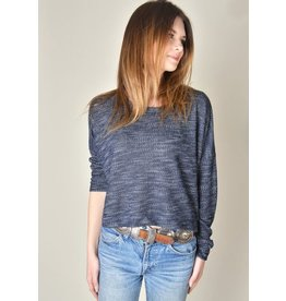 Cameo Crop Sweater Navy Slub