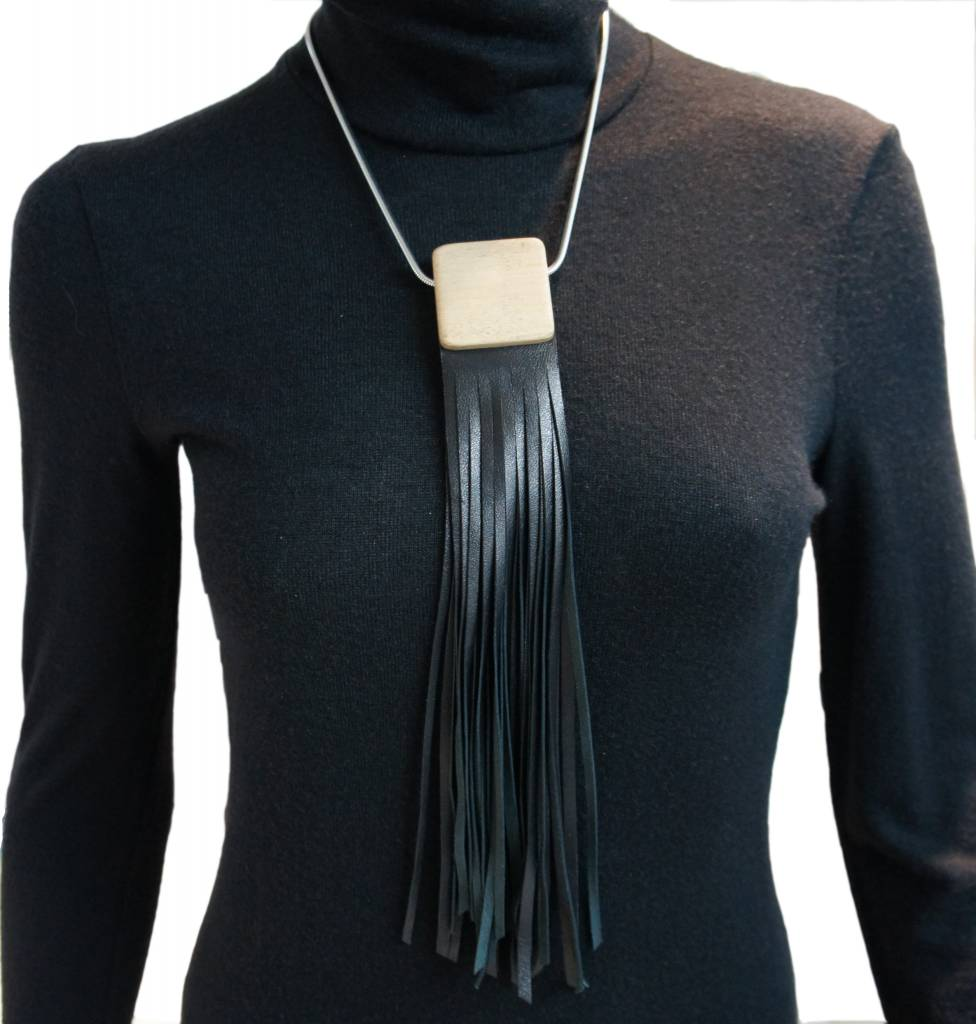 Louve Montreal Leather Fringe Necklace