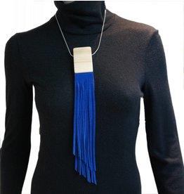 Louve Montreal Blue Suede Fringe Necklace