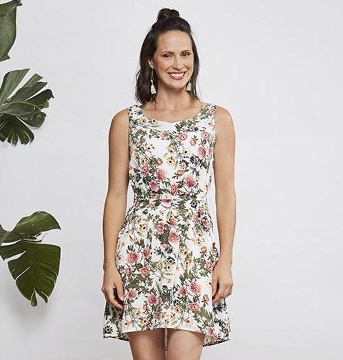 Cherry Bobin Dahlia Dress - White Flower