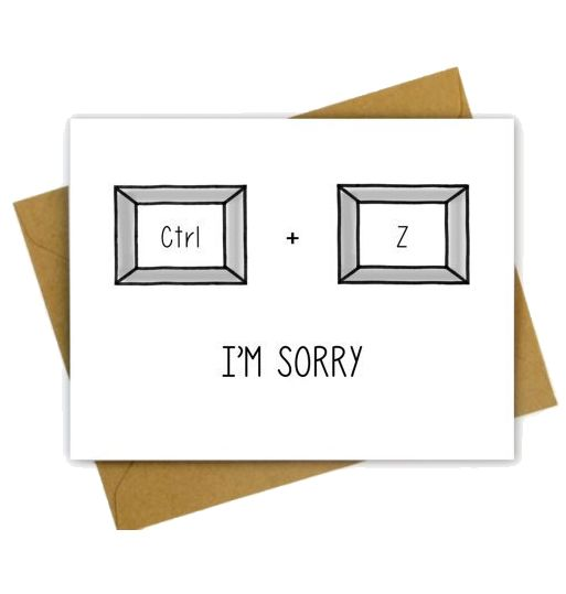 Hellafresh designs I'm sorry Ctrl Z Carte