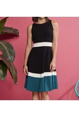 Cherry Bobin Escapade Dress - Blk/Ivry/Turq