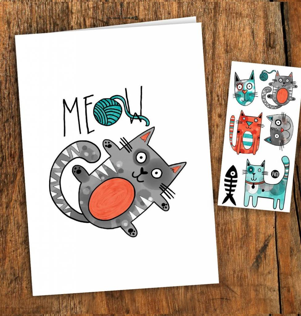 Pico tatoo Pico Tattoo Cat Greeting Card