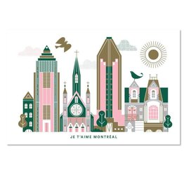Paperole Je t'aime Montreal Postcard