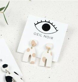 Oeil Noir Boucles d'Oreilles U - Beige
