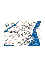 Paperole Map Montreal Postcard