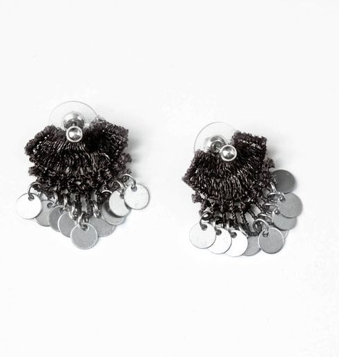 This Ilk This Ilk Erth Earrings - Black lace & Silver