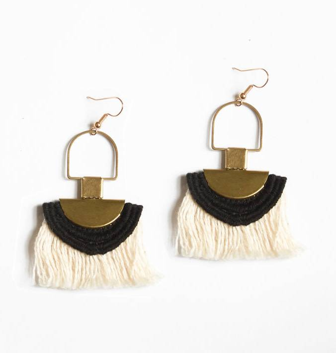 This Ilk This Ilk Memphis Earrings beige fringe and lace