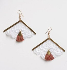 This Ilk Andes Earrings - White/Red Fringe